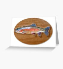Digitally generated image of a mounted trout trophy on a wooden plaque  Greeting Card