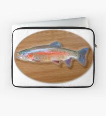 Digitally generated image of a mounted trout trophy on a wooden plaque  Laptop Sleeve