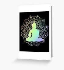 Buddha on Lotus Mandala | Spiritual Om New Age Buddhist Yoga Meditation Greeting Card