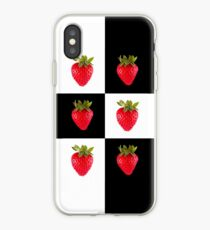 Strawberries (on checkered white & black) Cover For the Apple iPhone  iPhone Case