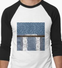 Faux Denim and leather and lace 4 Men's Baseball ¾ T-Shirt