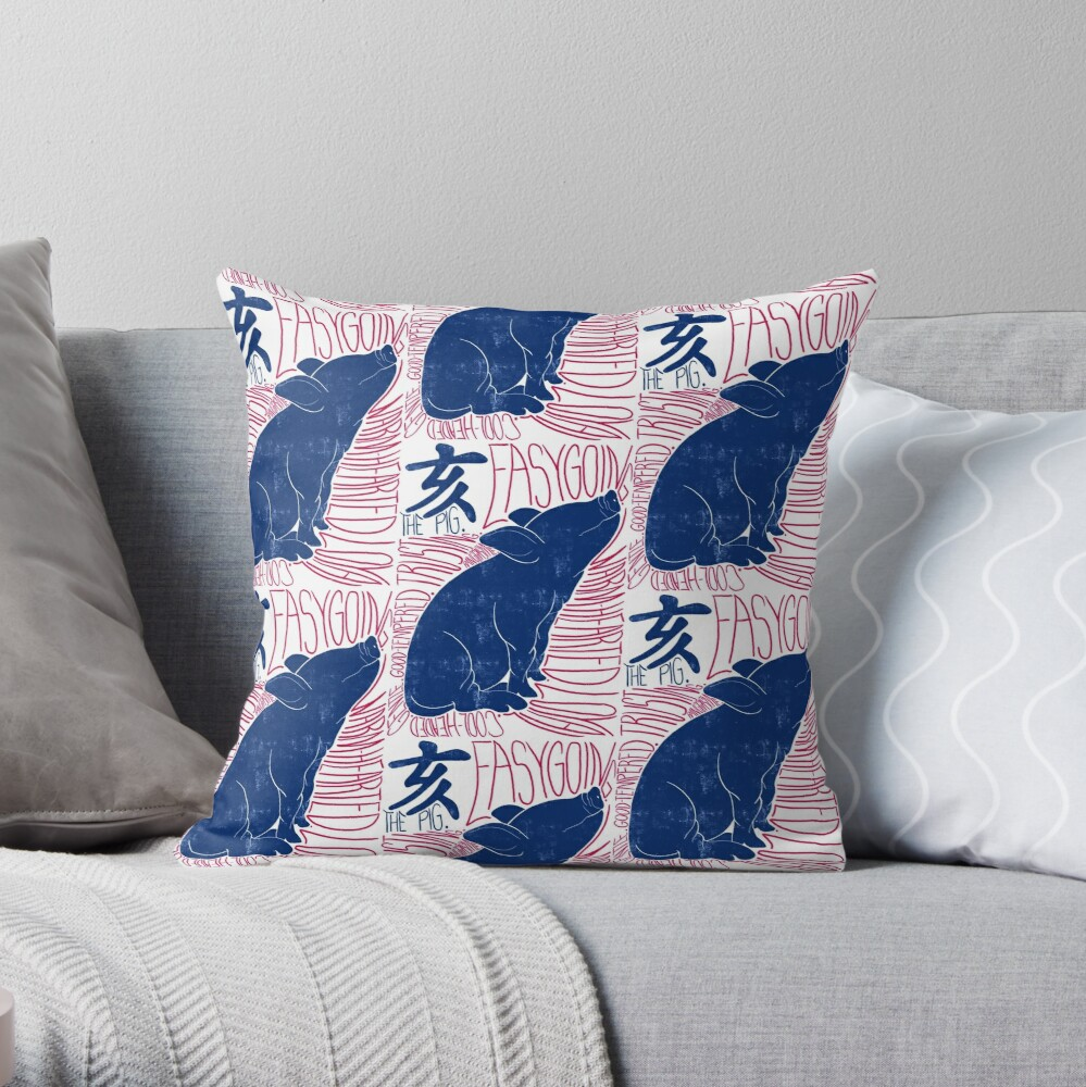 The Pig Chinese Zodiac Sign Throw Pillow