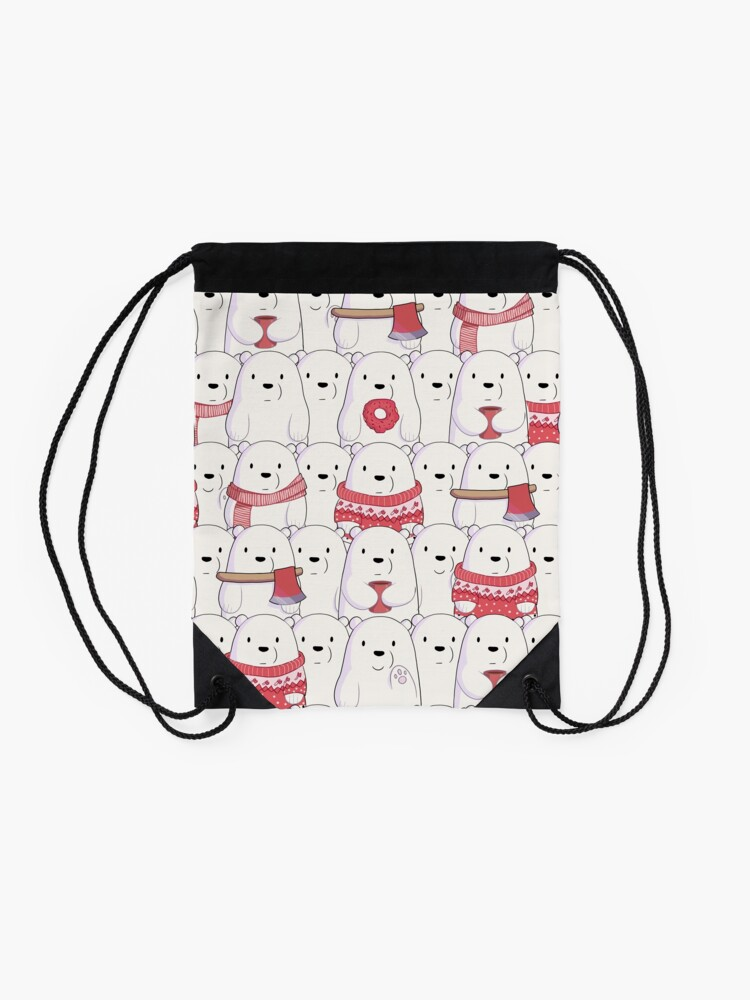 Alternate view of Ice Bear's sweater weather Drawstring Bag