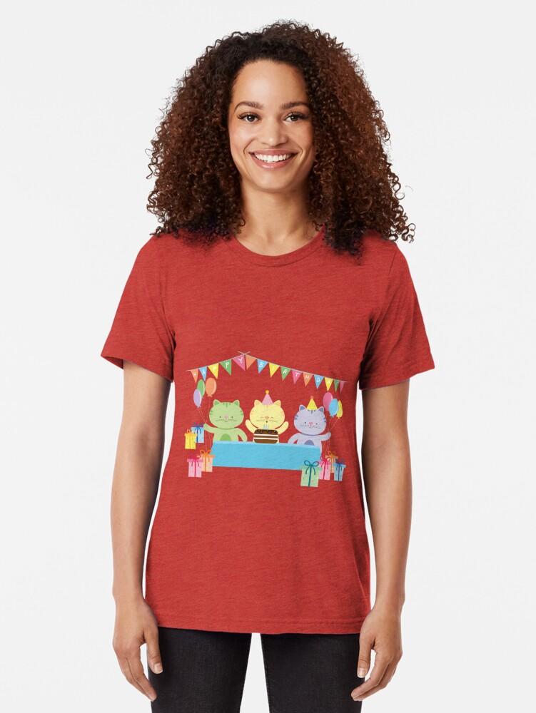 Alternate view of Happy Cat Birthday! Tri-blend T-Shirt