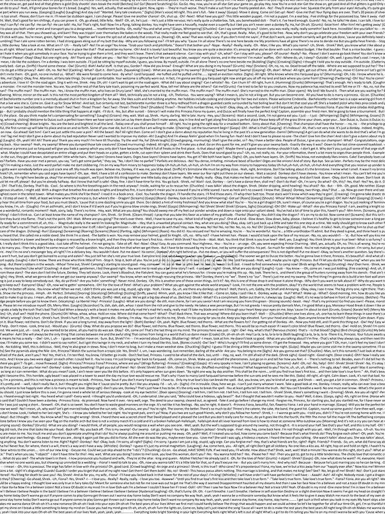 Quot Entire Shrek Script Quot T Shirt By Jijarugen Redbubble