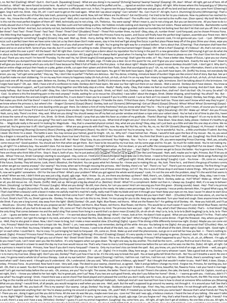 entire shrek script by Jijarugen