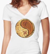 Aries & Tiger Yang Wood Women's Fitted V-Neck T-Shirt