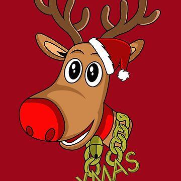 Santa Reindeer - Xmas - Christmas Red Noise Reindeer by melsens