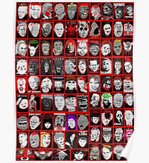 Faces of Horror Collage art Poster
