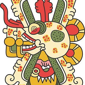 Aztec Skull Graphic T-shirt by portokalis