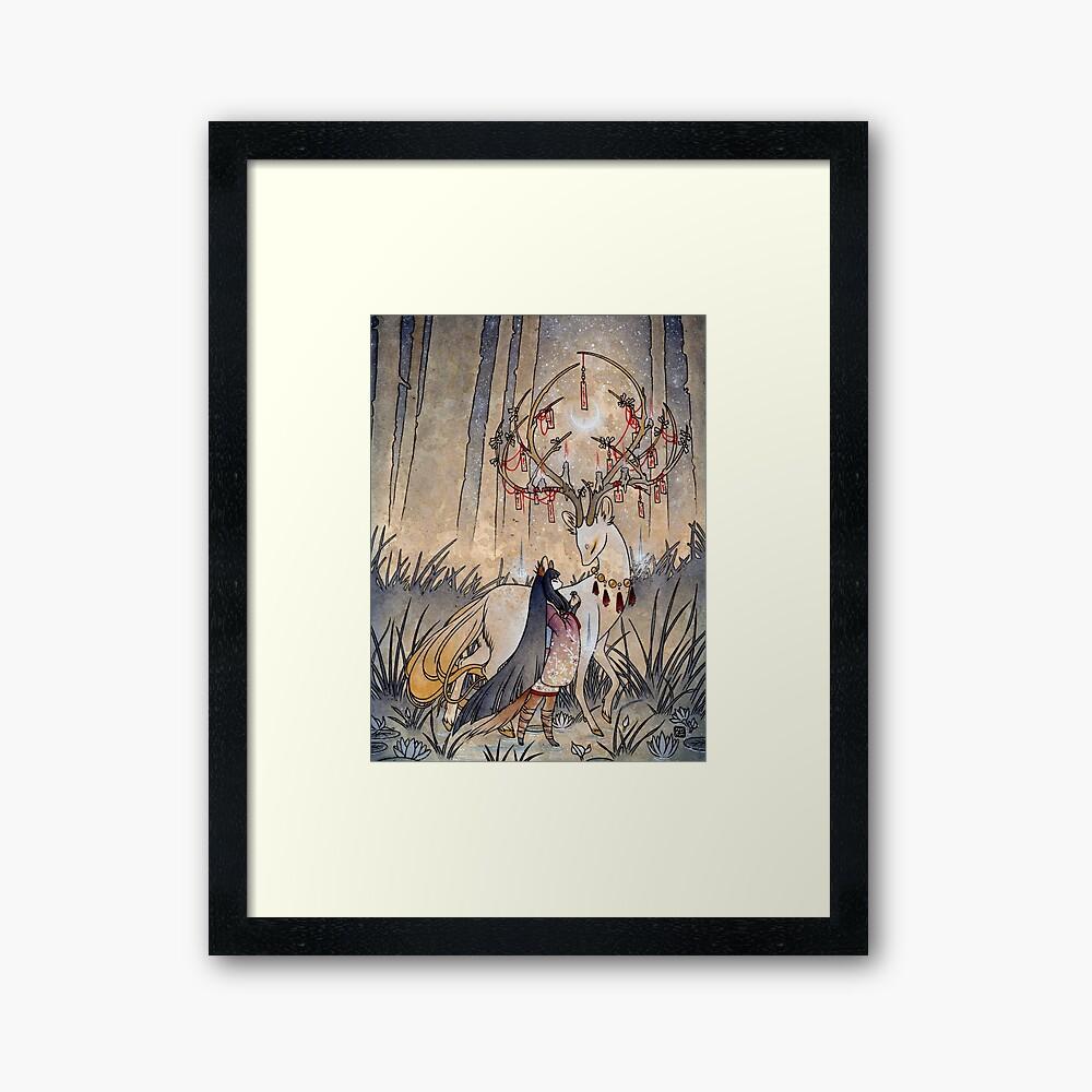 El deseo - Kitsune Fox Deer Yokai Lámina enmarcada