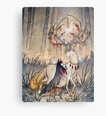 Der Wunsch - Kitsune Fox Deer Yokai Metalldruck