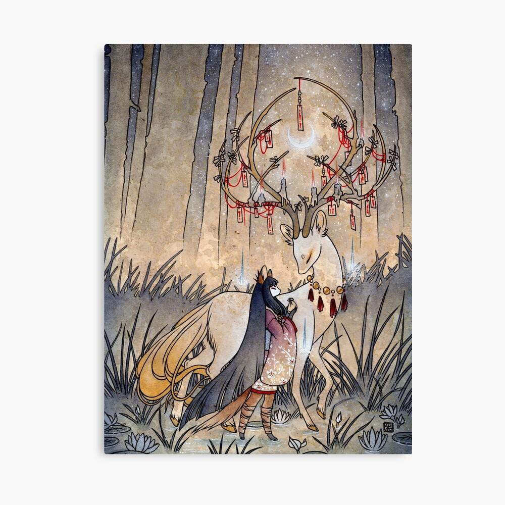 The Wish - Kitsune Fox Deer Yokai Canvas Print