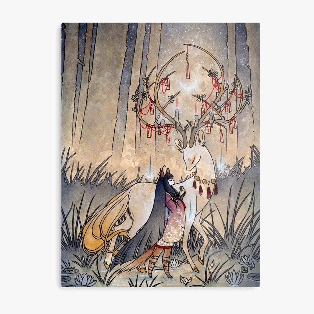 El deseo - Kitsune Fox Deer Yokai Lámina metálica