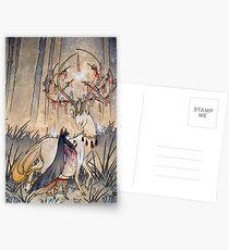 Der Wunsch - Kitsune Fox Deer Yokai Postkarten