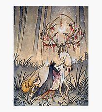 Der Wunsch - Kitsune Fox Deer Yokai Fotodruck