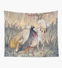 Der Wunsch - Kitsune Fox Deer Yokai Wandbehang