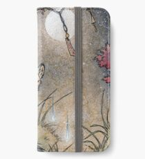 Fox & Wisps - Kitsune Yokai Fuchsfeuer iPhone Flip-Case/Hülle/Skin