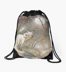 Fox & Wisps - Kitsune Yokai Foxfire  Drawstring Bag