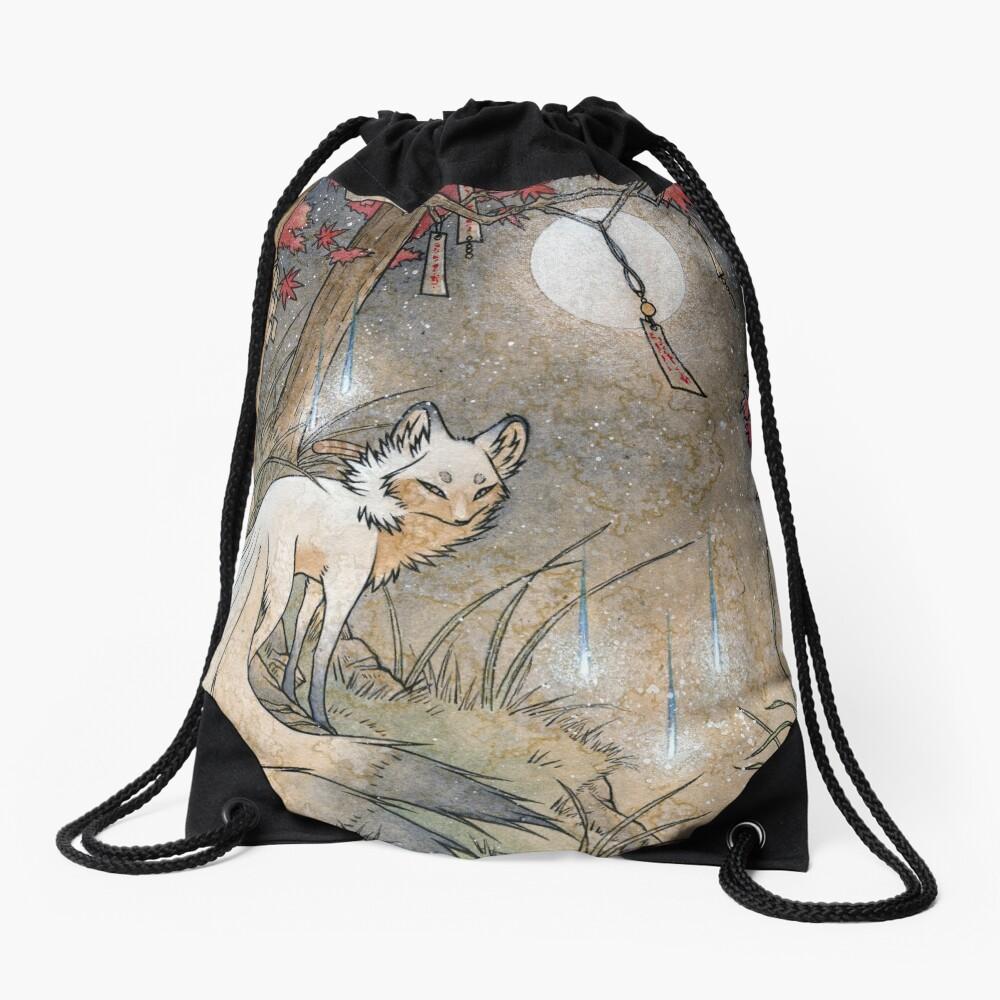 Fox & Wisps - Kitsune Yokai Foxfire  Drawstring Bag