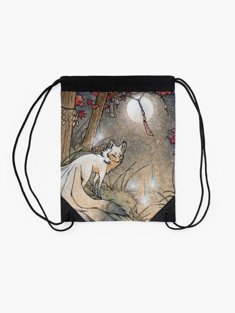 Alternate view of Fox & Wisps - Kitsune Yokai Foxfire  Drawstring Bag
