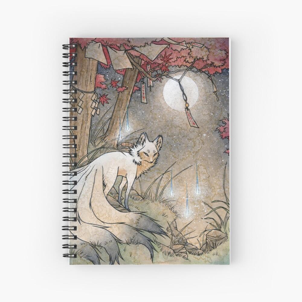 Fox & Wisps - Kitsune Yokai Foxfire  Spiral Notebook