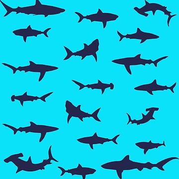 School of Swimming Sharks Silhouette Pattern by CreativeTwins