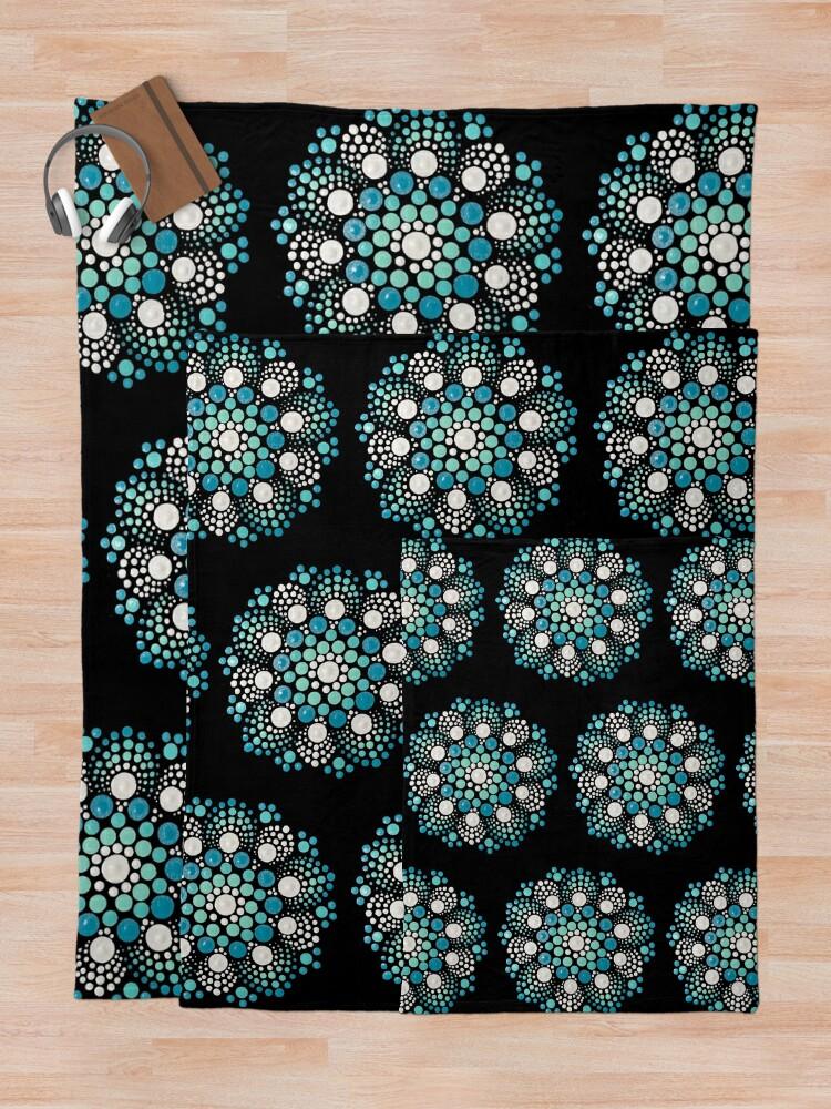 Alternate view of Blue Flower Mandala Throw Blanket