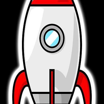 Rocket, Moon Rocket, Cartoon, 1950s by TOMSREDBUBBLE