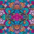 Colorful Abstract Floral Collage Seamless Pattern by artonwear