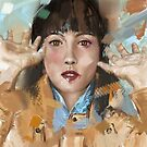 Contemporary Painting of a Beautiful Woman in a Chaotic Atmosphere by ibadishi