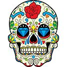 Colorful Retro Floral Sugar Skull by artonwear