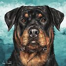 Painting of an Impressive Rottweiler Staring at You by ibadishi