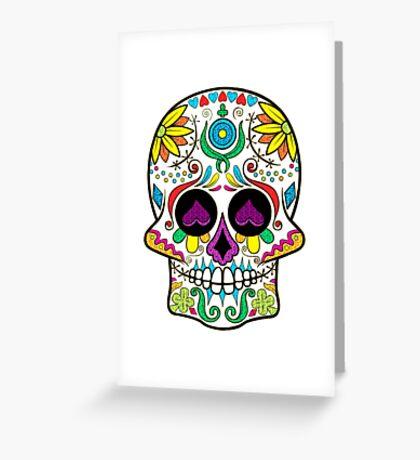 Colorful Floral Sugar Skull 3 Greeting Card