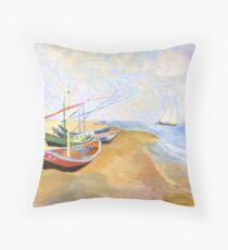 Boats On The Beach At Saintes-Maries after Van Gogh Throw Pillow