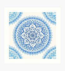 Yin Yang Mandala in Soft Blues Art Print