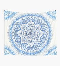 Yin Yang Mandala in Soft Blues Wall Tapestry