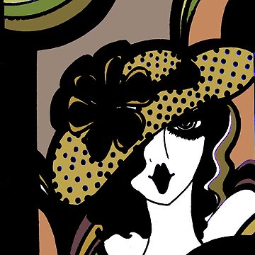 ART DECO 70S OP ART DOLLY GIRL WITH POLKA DOT HAT by jacquline8689