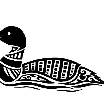 Common Loon Tribal Design  by KitayamaDesigns
