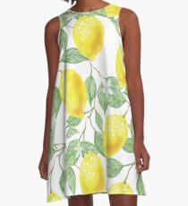 Zitronen-Print A-Linien Kleid