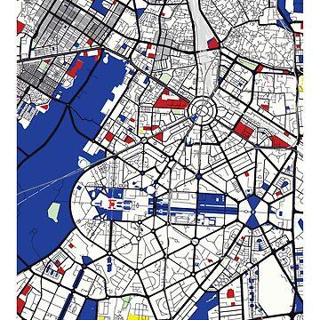 Nueva Delhi (India) Mapa x Piet Mondrian de franciscouto