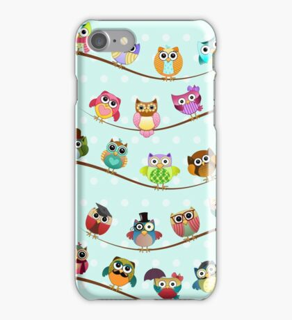 Cute Owls on Branch iPhone Case/Skin