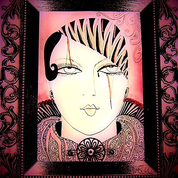 PRETTY PINK PIERROT DOLLY IN PICTURE FRAME by jacquline8689