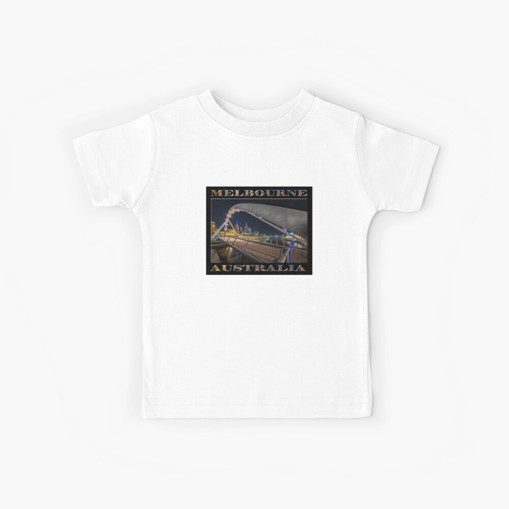 Southgate Bridge At Night (poster edition on black) Kids T-Shirt