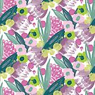 Painterly floral in green and magenta by Pattern-Design