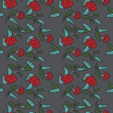 Small red ditsy trailing floral on charcoal by Pattern-Design