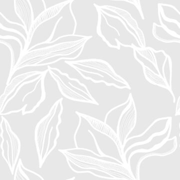 Delicate line work leaves on light grey by Pattern-Design