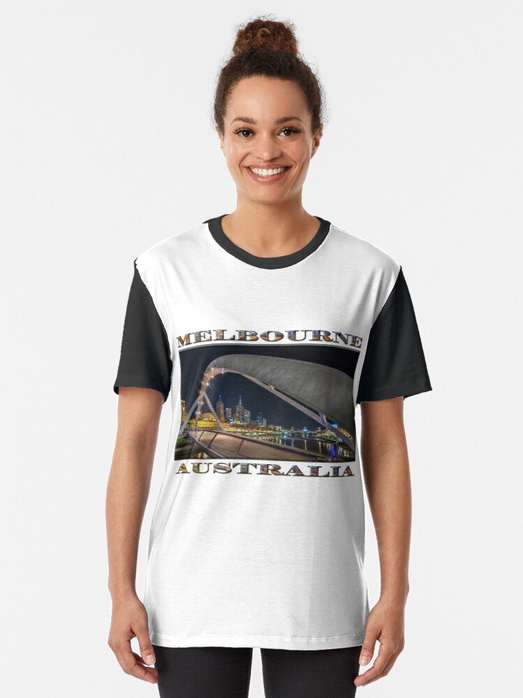 Alternate view of Southgate Bridge At Night (wide poster edition on white) Graphic T-Shirt