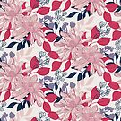 Pretty, detailed, hand drawn floral in pink and blue by Pattern-Design