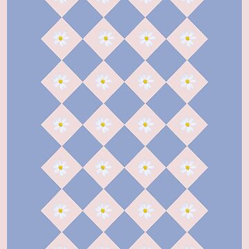 White Daisy on Pink and Blue Geometric Pattern by STHogan